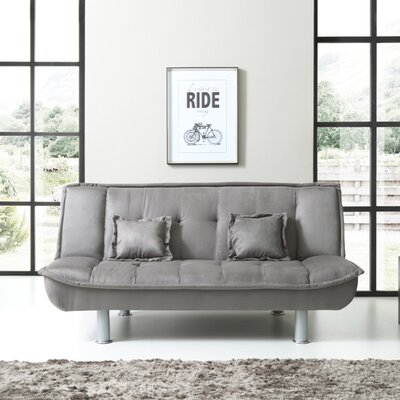 Lalani Modern Convertible Sofa Upholstery: Gray Suede