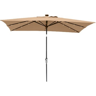 Kamila 7 x 9 Solar Lighted Rectangular Illuminated Umbrella