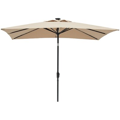 Irene 7 x 9 Next Gen Solar Lighted Rectangular Illuminated Umbrella Color: Taupe