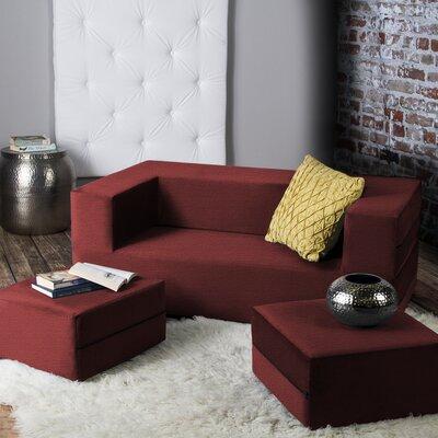 Eugene Modular Loveseat & Ottoman Sleeper Upholstery: Tomato