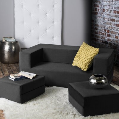 Eugene Modular Loveseat & Ottoman Sleeper Upholstery: Black