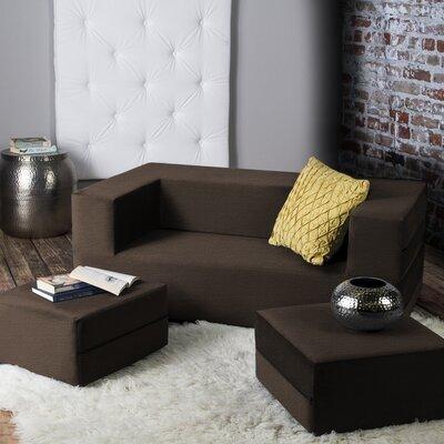 Eugene Modular Loveseat & Ottoman Sleeper Upholstery: Brown