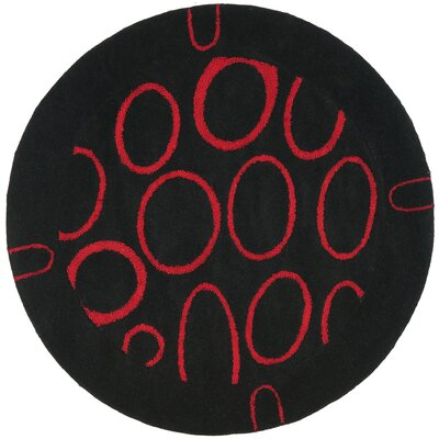 Woodburn Black/Red Area Rug Rug Size: Round 6