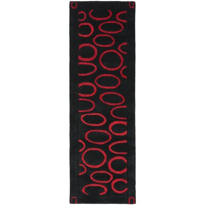 Woodburn Black/Red Area Rug Rug Size: Runner 26 x 8