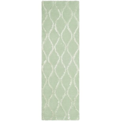 Woodburn Aqua / Green Contemporary Rug Rug Size: Runner 26 x 8
