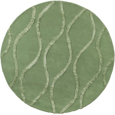 Woodburn Aqua / Green Contemporary Rug Rug Size: Round 6