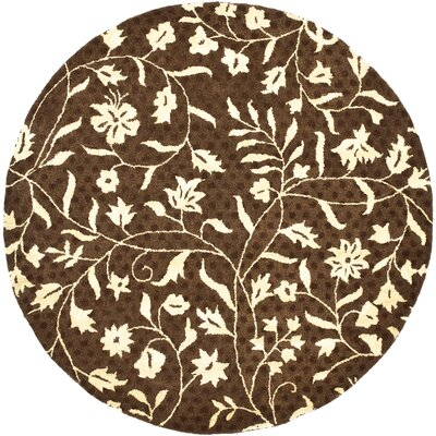 Woodburn Light Dark Brown / Ivory Contemporary Rug Rug Size: Round 6
