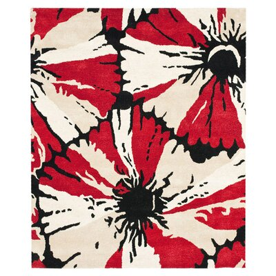 Woodburn Black/Red Area Rug Rug Size: 36 x 56