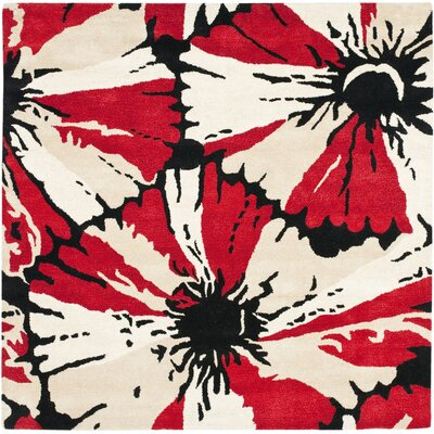 Woodburn Black/Red Area Rug Rug Size: Square 6