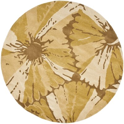 Woodburn Brown/Ivory Area Rug Rug Size: Round 6