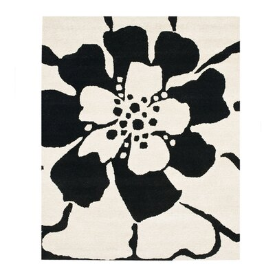 Woodburn Black/White Area Rug Rug Size: 76 x 96