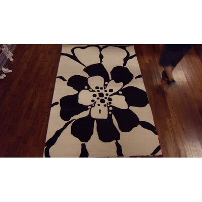 Woodburn Black/White Area Rug Rug Size: Rectangle 76 x 96