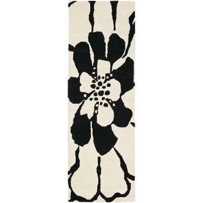 Woodburn Black/White Area Rug Rug Size: Runner 26 x 8