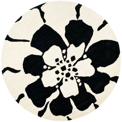 Woodburn Black/White Area Rug Rug Size: Round 6