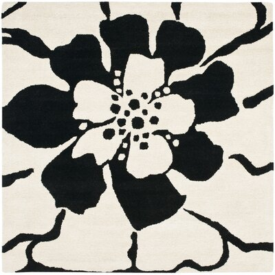Woodburn Black/White Area Rug Rug Size: Square 6
