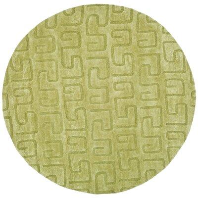 Schaub Hand-Tufted Green Area Rug Rug Size: Round 6
