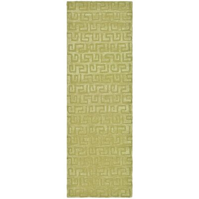 Schaub Hand-Tufted Green Area Rug Rug Size: Runner 26 x 12