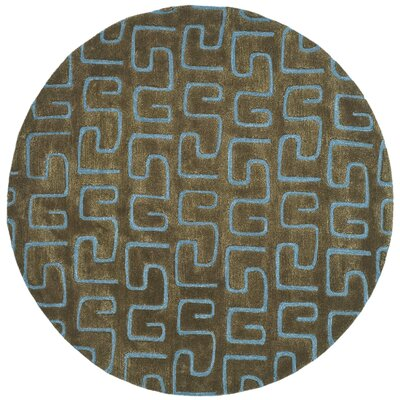 Schaub Hand-Tufted Brown/Light blue Area Rug Rug Size: Round 6