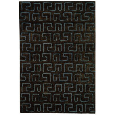 Schaub Hand-Tufted Brown/Light blue Area Rug Rug Size: Rectangle 76 x 96