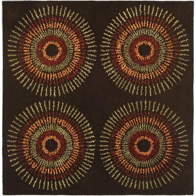 Woodburn Brown/Gold Area Rug Rug Size: Square 8