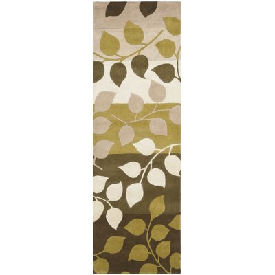 Woodburn Green / Beige Rug Rug Size: Runner 26 x 8
