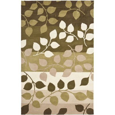 Woodburn Green / Beige Rug Rug Size: Rectangle 7'6