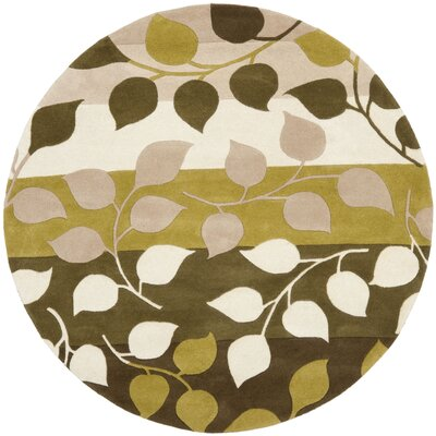 Woodburn Green / Beige Rug Rug Size: Round 6
