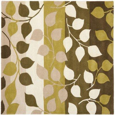 Woodburn Green / Beige Rug Rug Size: Square 6