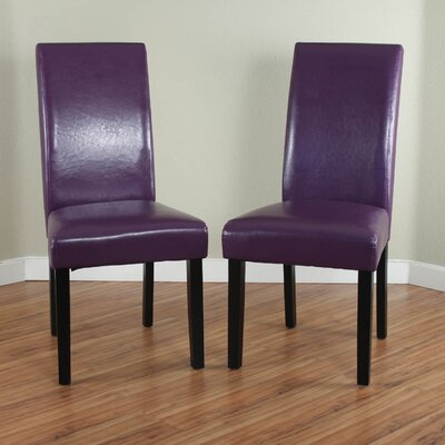 Aubrey Parsons Chair Upholstery: Boysenberry, Finish: Black
