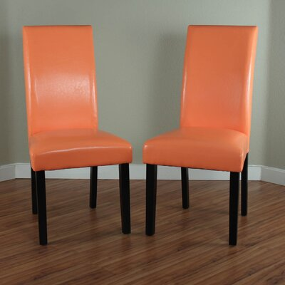 Aubrey Parsons Chair Upholstery: Orange, Finish: Espresso