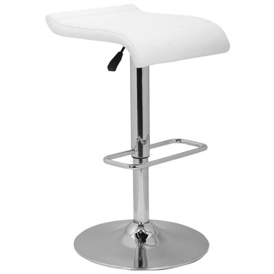 Idina Adjustable Height Bar Stool Seat Finish: White