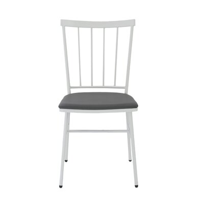 Victor Genuine Leather Upholstered Dining Chair Finish: Gray / White
