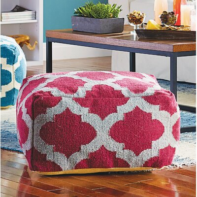 Zahara Lavish Lattice Pouf Ottoman Upholstery: Raspberry Wine / Gray