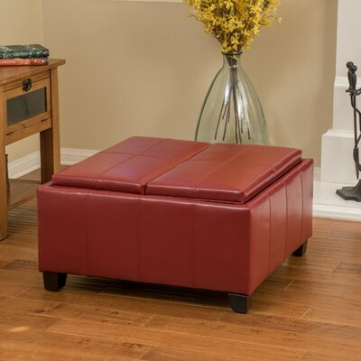 Brooke Leather Ottoman Upholstery: Red