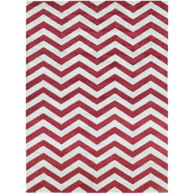 Greer Cherry Chevron Area Rug Rug Size: 93 x 126