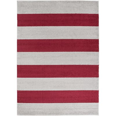 Greer Burgundy Stripe Area Rug Rug Size: Rectangle 93 x 126