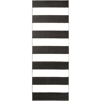 Greer Black/Cream Area Rug Rug Size: Runner 27 x 73