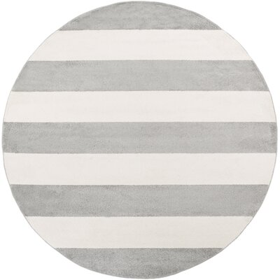 Greer Gray/Ivory Area Rug Rug Size: Round 710