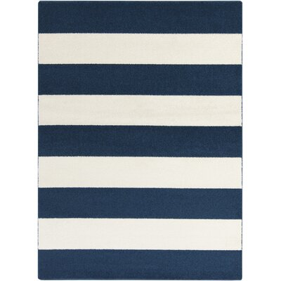 Greer Cobalt & Ivory Striped Area Rug Rug Size: 5'3