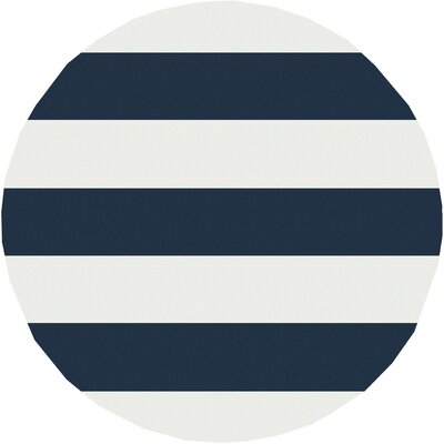 Greer Cobalt & Ivory Striped Area Rug Rug Size: Round 7'10