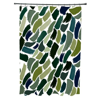 Goodlow Abstract Shower Curtain Color: Green