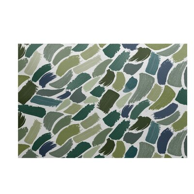 Bueche Abstract Green/Blue Area Rug Rug Size: 2' x 3'