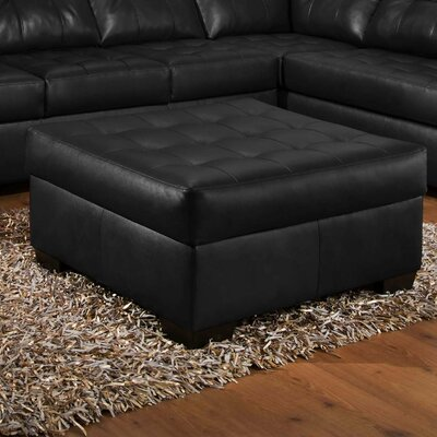 Simmons Upholstery David Ottoman Upholstery: Soho Onyx Bonded Leather Match
