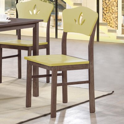 June Solid Wood Dining Chair Color: Yellow