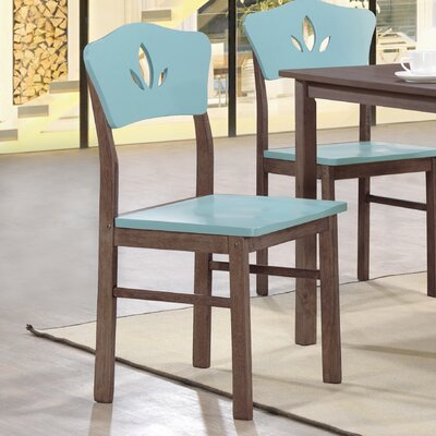 June Solid Wood Dining Chair Color: Blue