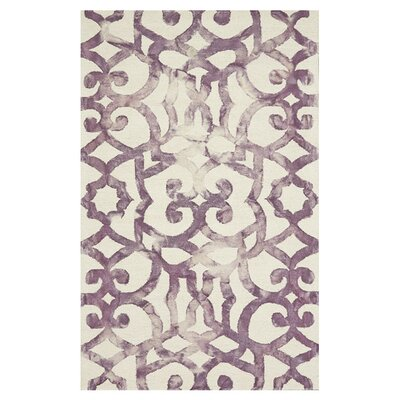 Rosser Hand-Hooked Violet Area Rug Size: Rectangle 5 x 8