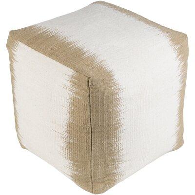 Strecker Pouf Upholstery: Tan/White