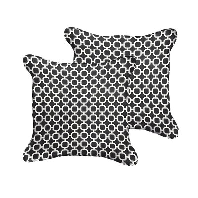 Samantha Geometric Piped Indoor/Outdoor Throw Pillow Size: 18 H x 18 W x 6 D