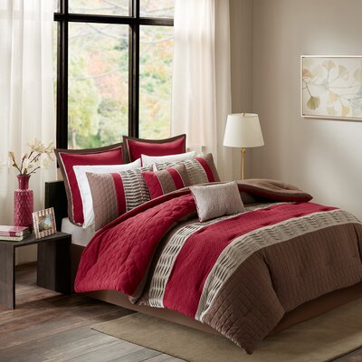 Ibarra 8 Piece Comforter Set Size: Queen, Color: Red