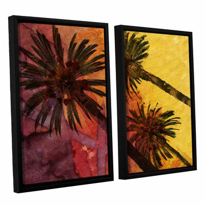'Beach with Palm Trees' 2 Piece Framed Painting Print on Wrapped Canvas Set